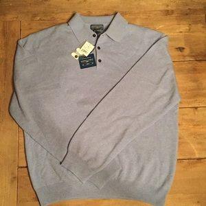 Joseph & Lyman men's cashmere sweater, blue, large
